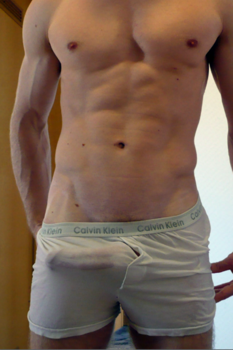 Erected Cock Showing Through The Undies